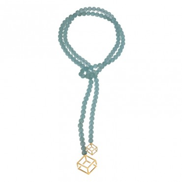 CUBE NECKLACE ACQUA CRYSTAL