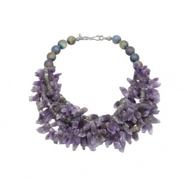 NECKLACE WITH AMETHYST AND LABRADORITE STONES