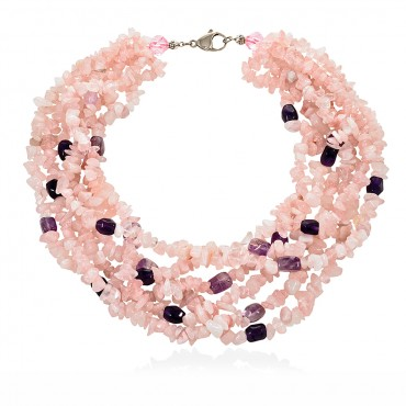 SYROS NECKLACE ROZE QUARTZ - AMETHYST
