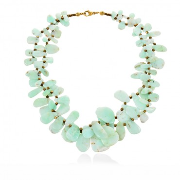 ANDROS NECKLACE CHRYSOPRASE -HEMATITETE