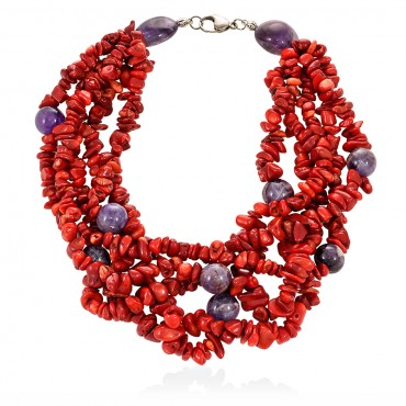 SYROS NECKLACE CORAL - AMETHYST