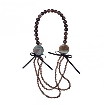 NECKLACE WITH SMOKY QUARTZ & AGATE